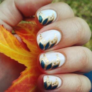 Рисунки с листьями на ногтях, простой осенний узор на ногтях