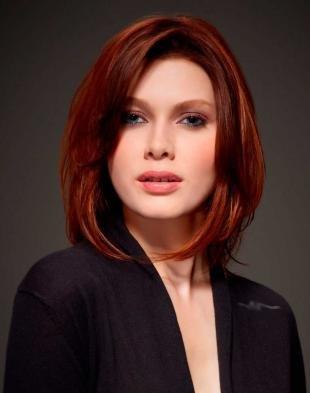 Ярко рыжий цвет волос на средние волосы, рыжий цвет волос