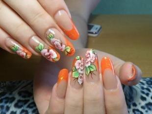 Коралловые ногти с рисунком, оранжевый френч с цветочным дизайном