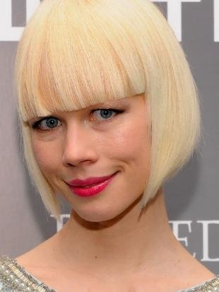 Молочный цвет волос на средние волосы, стильный короткий боб с ровной челкой