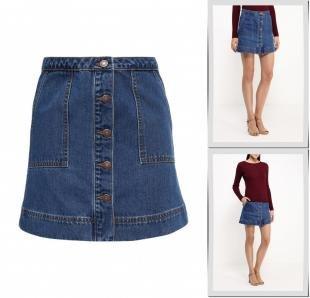 Джинсовые юбки, юбка джинсовая springfield, осень-зима 2016/2017