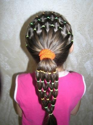 Темно русый цвет волос, детская прическа с резинками