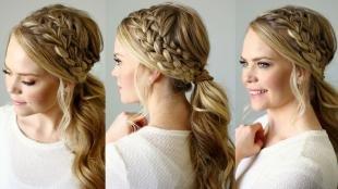 Свадебные прически с косой на длинные волосы, элегантная прическа с двумя косами и хвостом