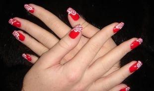 Коралловые ногти с рисунком, красный маникюр с ажурным рисунком на длинные ногти