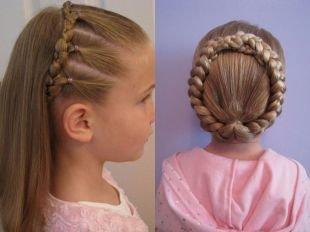 Цвет волос темный блондин, детские прически на выпускной с косами