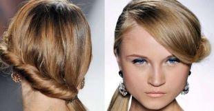 Карамельно русый цвет волос на средние волосы, необычный хвост сбоку