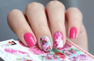 Рисунки цветов на ногтях, слайдерный дизайн ногтей