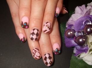 """Рисунки блестками на ногтях, симпатичный маникюр """"шоколад"""""""