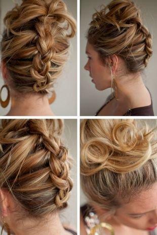 Прически на выпускной на средние волосы, прическа с плетением - колосок снизу вверх с пучком