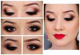 Свадебный макияж с нарощенными ресницами, коричневый макияж глаз на выпускной