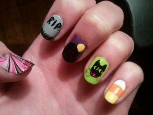 Рисунки с кошками на ногтях, забавный маникюр на хэллоуин