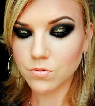 Арабский макияж для серых глаз, дымчатый макияж глаз с черными и золотистыми тенями