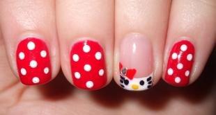 Рисунки с кошками на ногтях, красный маникюр с горошком hello kitty