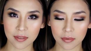 Коричневый макияж, макияж смоки айс для близко посаженных глаз