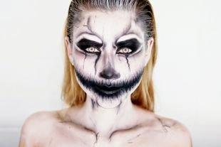 Макияж для голубых глаз на хэллоуин, макияж на хэллоуин черным аквагримом