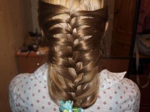 """Цвет волос капучино на длинные волосы, праздничный вариант плетения """"колосок"""""""