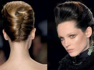 Объемные прически на средние волосы, элегантная прическа ракушка