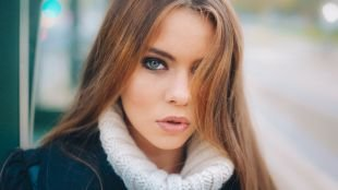 Макияж на фотосессию на природе, стильный макияж для шатенок с серо-голубыми глазами