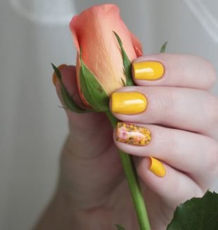 Рисунки цветов на ногтях, желтый маникюр с цветами