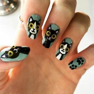 Рисунки на нарощенных ногтях, маникюр с кошками