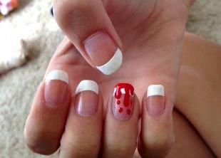 Дизайн коротких ногтей, френч с потеками крови