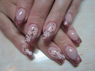 Китайская роспись ногтей, дизайн ногтей с веточками сакуры