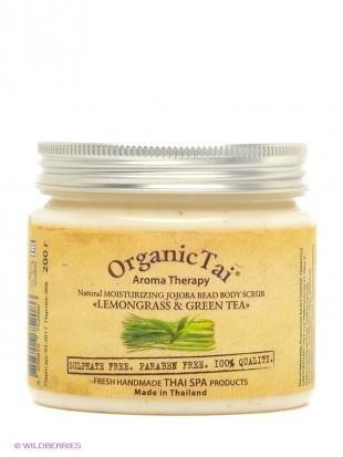 """Тайский скраб для тела, organic tai скраб для тела с гранулами жожоба """"лемонграсс и зеленый чай"""", 200 гр"""