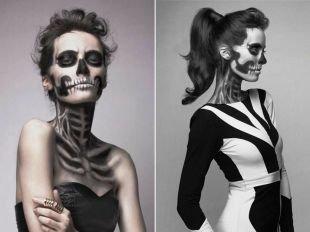 Макияж для голубых глаз на хэллоуин, макияж на хэллоуин - девушка-скелет