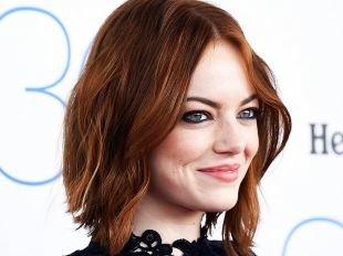 Коньячный цвет волос на средние волосы, стрижки и прически для тонких волос - волнистая укладка