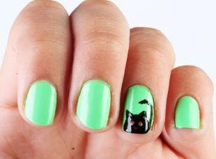 Рисунки с животными на ногтях, зеленый маникюр с рисунком черной кошки