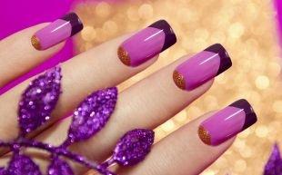 Маникюр гель лаком, розовый лунный маникюр на нарощенных ногтях