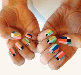 Дизайн ногтей шеллаком, разноцветный маникюр шеллак