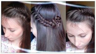 Перламутровый цвет волос на длинные волосы, модная прическа с косами