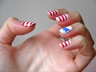 Маникюр на квадратные ногти, маникюр с флагом